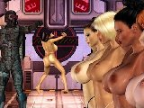 Sexy busty females in an action shooting game