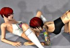 Two short haired redheads having some fun