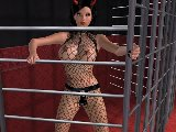 Girl with a lace lingerie tease dancing in a cage